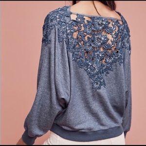 Meadow Rue Bria Lace-Back Cropped Sweatshirt Top